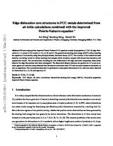 Edge dislocation core structures in FCC metals determined from ab ...
