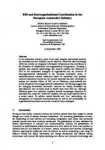 EDI and Interorganizational Coordination in the European Automotive ...