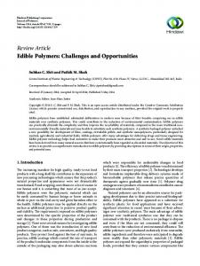 Edible Polymers: Challenges and Opportunities