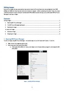 Editing Images Using Microsoft Office Picture Manager