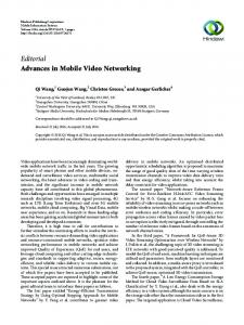 Editorial Advances in Mobile Video Networking - Hindawi