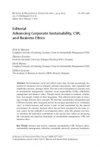 Editorial Advancing Corporate Sustainability, CSR, and Business Ethics