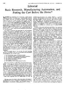Editorial Basic Research, Manufacturing Automation ... - IEEE Xplore