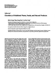 Editorial Chemistry of Medicinal Plants, Foods, and Natural Products