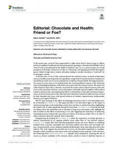Editorial: Chocolate and Health: Friend or Foe? - Semantic Scholar