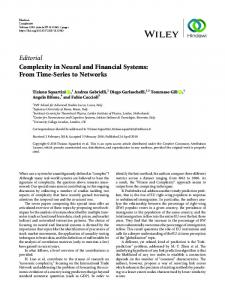 Editorial Complexity in Neural and Financial Systems