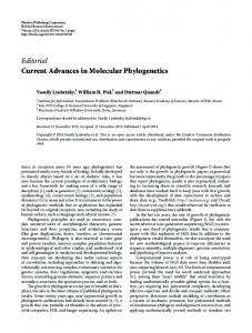 Editorial Current Advances in Molecular Phylogenetics - BioMedSearch