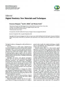 Editorial Digital Dentistry: New Materials and Techniques - Hindawi