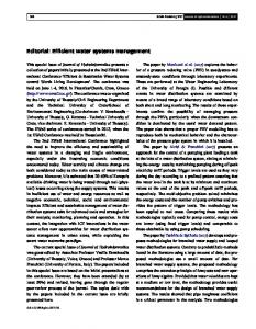 Editorial: Efficient water systems management - Journal of ...