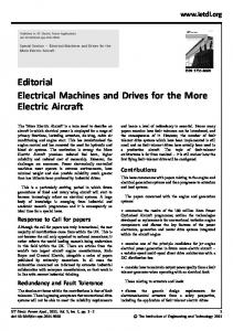 Editorial Electrical Machines and Drives for the More ... - IEEE Xplore