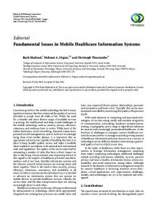 Editorial Fundamental Issues in Mobile Healthcare ... - Hindawi