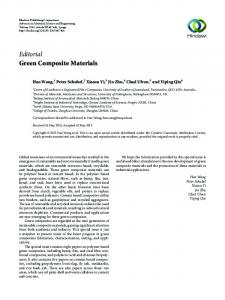 Editorial Green Composite Materials - Hindawi