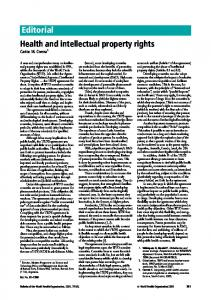 Editorial Health and intellectual property rights - World Health ...