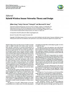 Editorial Hybrid Wireless Sensor Networks: Theory and Design