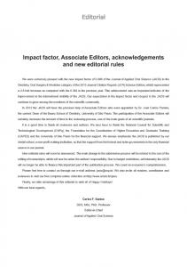 Editorial Impact factor, Associate Editors, acknowledgements ... - SciELO