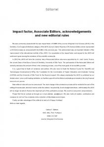 editorial Impact factor, Associate Editors