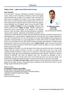 Editorial - International Society Of Preventive & Community Dentistry