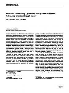Editorial: Introducing Operations Management Research - Patrick R