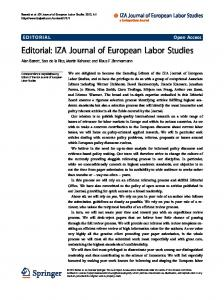 Editorial: IZA Journal of European Labor Studies - Springer Link
