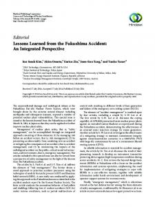 Editorial Lessons Learned from the Fukushima Accident - Hindawi
