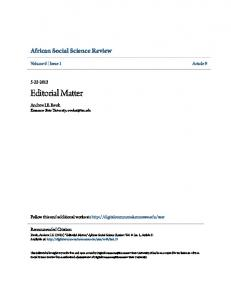 Editorial Matter - Digital Commons @ Kennesaw State University