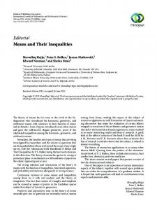 Editorial Means and Their Inequalities - Hindawi