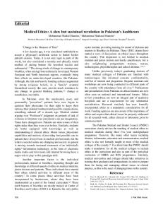 Editorial Medical Ethics: A slow but sustained revolution in Pakistan's ...