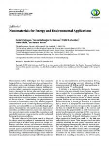 Editorial Nanomaterials for Energy and Environmental ... - Hindawi