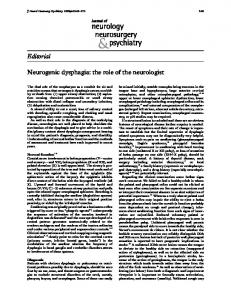 Editorial Neurogenic dysphagia: the role of the neurologist - NCBI