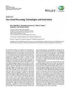 Editorial New Food Processing Technologies and Food Safety - Hindawi