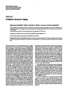 Editorial Oxidative Stress in Aging