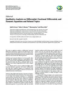 Editorial Qualitative Analysis on Differential, Fractional Differential ...