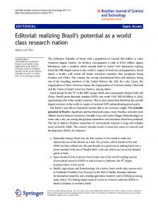 Editorial: realizing Brazil's potential as a world class ... - Springer Link
