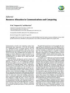 Editorial Resource Allocation in Communications and ... - Hindawi