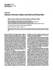Editorial Sedentary Behaviors, Weight, and Health