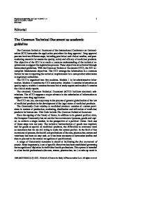 Editorial The Common Technical Document as ...