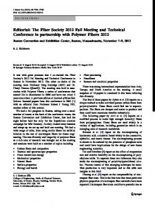 Editorial: The Fiber Society 2012 Fall Meeting and ... - Springer Link