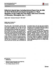 Editorial to Special Issue: Including Selected Papers ... - Springer Link