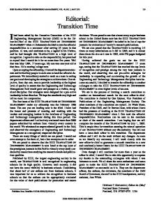 Editorial: transition time - Engineering Management ... - IEEE Xplore