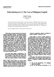 Editorializing in L2: The Case of Philippine English - Eric
