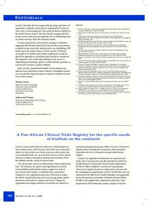 EDITORIALS A Pan-African Clinical Trials Registry for the specific ...