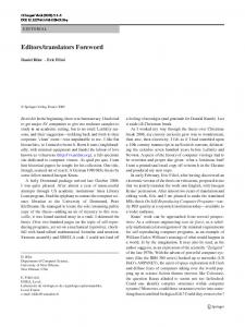 Editors/translators Foreword - Springer Link