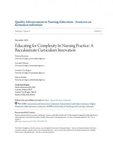 Educating for Complexity In Nursing Practice: A Baccalaureate ...