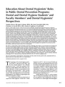Education About Dental Hygienists' Roles in Public Dental Prevention ...