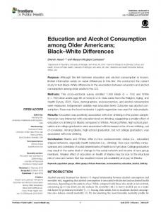 Education and Alcohol Consumption among Older ... - Semantic Scholar