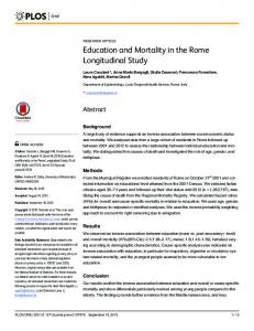 Education and Mortality in the Rome Longitudinal