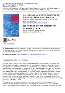 Education and social cohesion for economic growth