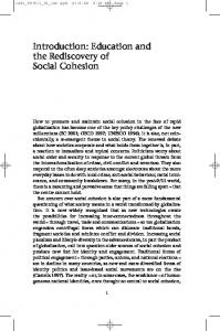 Education and the Rediscovery of Social Cohesion