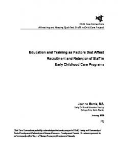 Education and Training as Factors that Affect Recruitment and ...