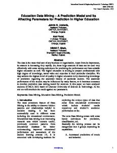 Education Data Mining ? A Prediction Model and Its Affecting ...